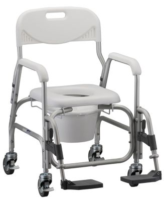 Nova Shower Chair/Commode with Padded Seat and Footrests